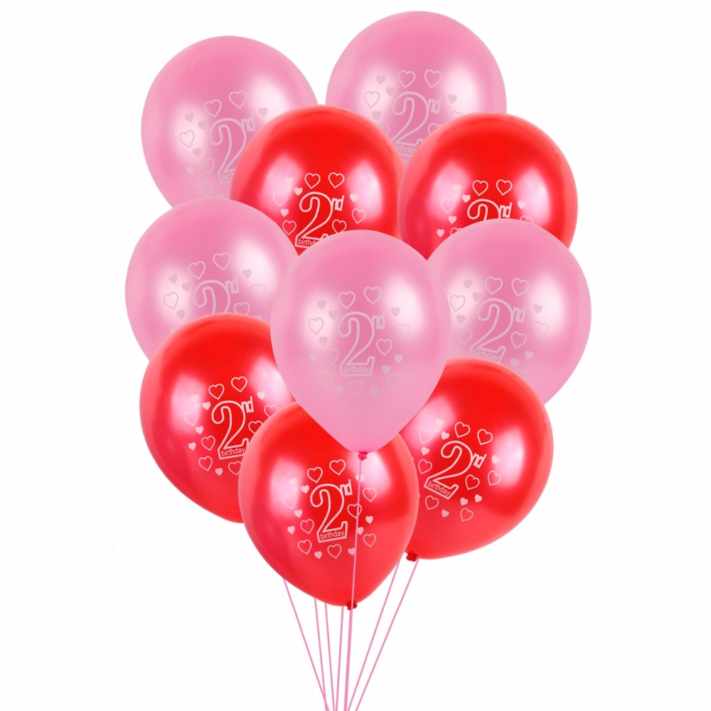 Fengrise 10pcs 12 2nd Birthday Balloons Happy Birthday Party