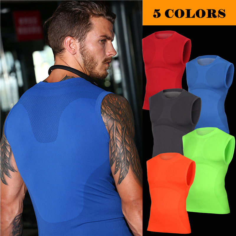 New 2018 sleeveless high elastic Men GYM joggers Running fitness muscle training Sportswear shape tights Exercise T-shirts