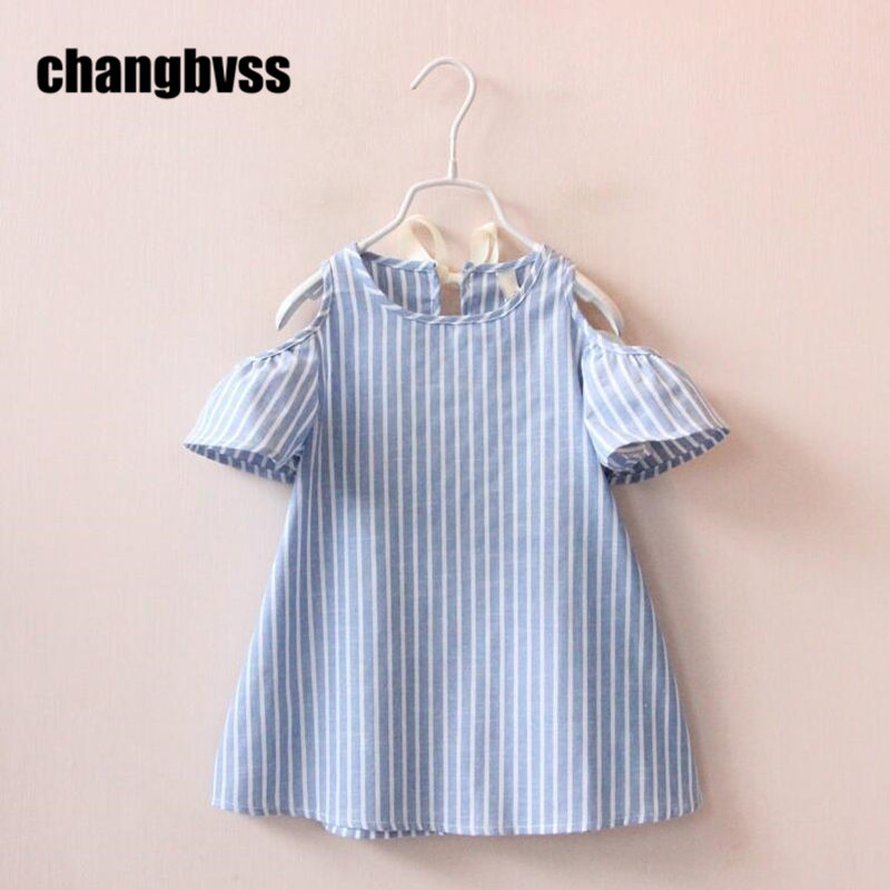 Blue White Striped Girls Dress Summer Girls Clothes Wedding Party Kids Strapless Dresses For Girls Baby Girls Dresses vestidos kids girls dress girls striped dress baby girls summer clothes girls dresses for party and wedding kids clothes 2018 new arrival