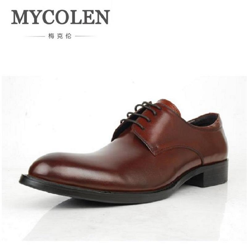 MYCOLEN Brand Classic Black Pointed Toe Men Dress Shoes Cow Leather Lace Up Men Oxfords Shoes Chaussures Hommes En Cuir patent leather men s business pointed toe shoes men oxfords lace up men wedding shoes dress shoe plus size 47 48