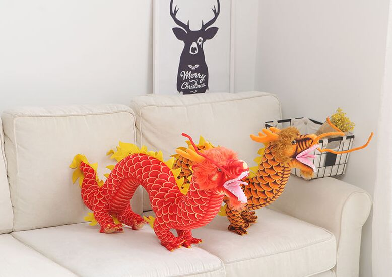 big new plush simulation chinese dragon toy one piece dragon doll gift about 90cm 2734 stuffed animal 44 cm plush standing cow toy simulation dairy cattle doll great gift w501