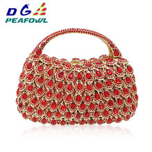 new style Multicolor Women red Clutch Tassel Crystal Bags With Handle Diamonds Finger Ring Wedding Handbags Purse bolso paja(China)