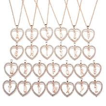 2018 New Fashion Gold Silver Color Love Heart Crystal Pendant K Letter Necklace For Women Cubic Zirconia Initial Wedding Jewelry(China)