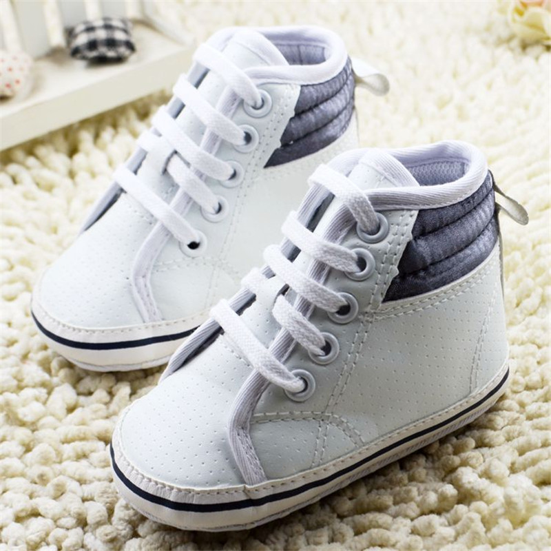 ᗖnew Infant Toddler Newborn Baby Shoes Soft Sole Lace Up Pu White