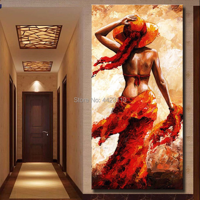 Hand Painted Red Girl Oil Painting Hot Elegant Woman -3237