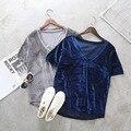 New Casual V Pescoço Top De Veludo Camisa Básica T Mulheres Curtas manga de Veludo Quente Camisetas Ladies Sólidos Sexy Tee Encabeça Femme 1261