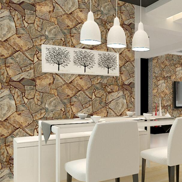 pvc d papel pintado decorativo de la pared para la barra de piedra natural textura de