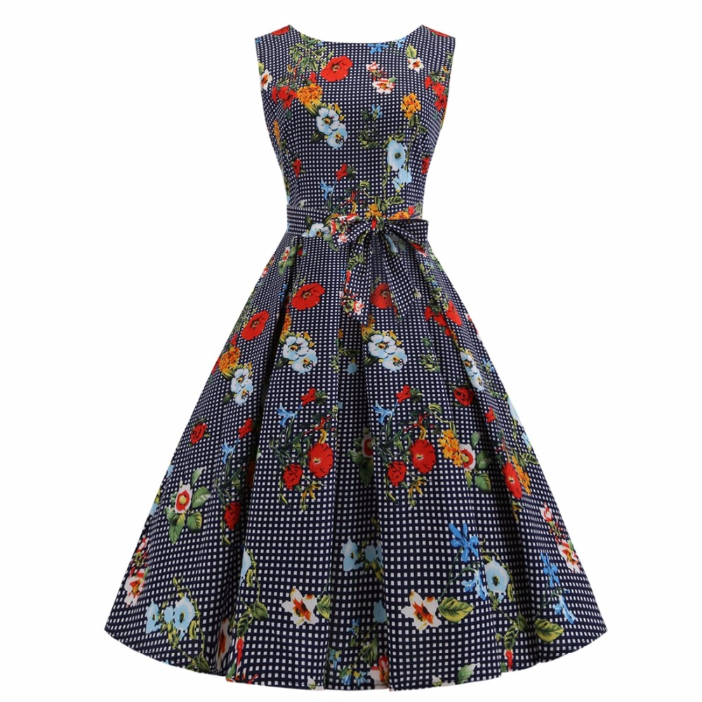 Sensfun Spring/Summer Dress Women Floral Dresses Rockabilly Audrey Hepburb Vintage Dress A Line Vestido Retra Party Dresses