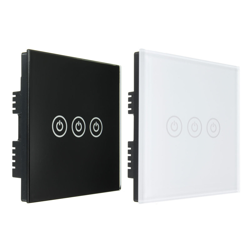 1 Way 3 Gang Crystal Glass Panel Touch Screen Home Light Wall Switch Remote Controller AC100-250V Best Price 1 way 1 gang crystal glass panel smart touch light wall switch remote controller white black 160 250v ac