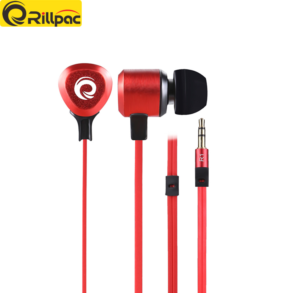 Rillpac R1 In ear stereo music earphones Heavy Bass Sound Noise Isolating in-ear heavy bass earphone for mobile phone sur s525 dynamic stereo music in ear earphones drive by wire