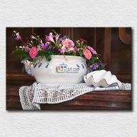 Fresh flowers picture wall arts for home decoration with high quality proof ink prints light pot and tiny flower canvas