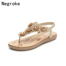 2017 soft comfortable bohemia wedge women sandals summer vintage rhinestone woman flip flops beach women shoes s308 Luxury Summer Sandals Women Bohemia Wedge Flip Flops Female Rhinestone Beach Ladies Shoes Woman Sandalia Mujer Plus Size