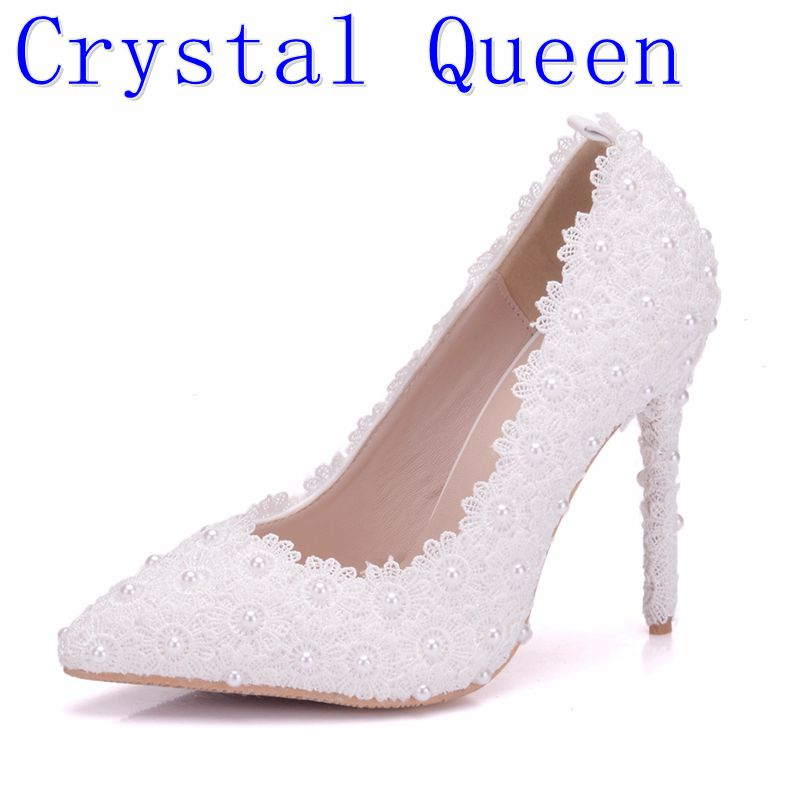 Crystal QueSweet Flower Women Pumps High Heels Lace Platform Pearls rhinestone Wedding Shoes Bride Dress Shoes 11cm height handmade crystal pearl beading ankle boots for 2018 woman sweet lace flower platform high chunky heels pumps wedding dress shoes