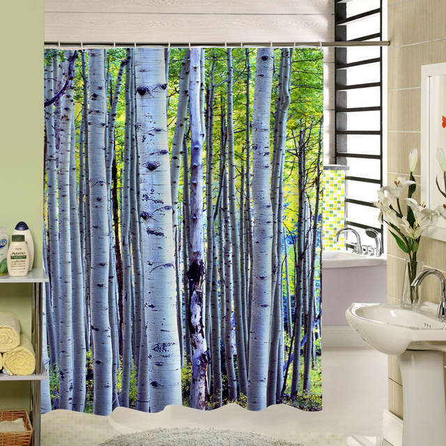 SPA Plant Birch Waterproof Shower Curtain Bathroom Decor Decoration Green Bamboo Fall Tree Original Forest Countryside Style