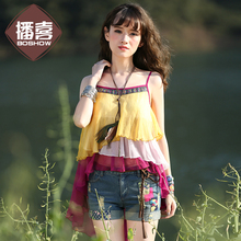 Summer New Arrival Women National Trend Embroidery Color Block Ruffle Asymmetrical Chiffon Spaghetti Strap Top Blouse