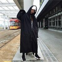 Для женщин длинные толстовки кофты Верхняя одежда на молнии черный костюмы Feminina свободные женские повседневное карманы пальто теплая курт