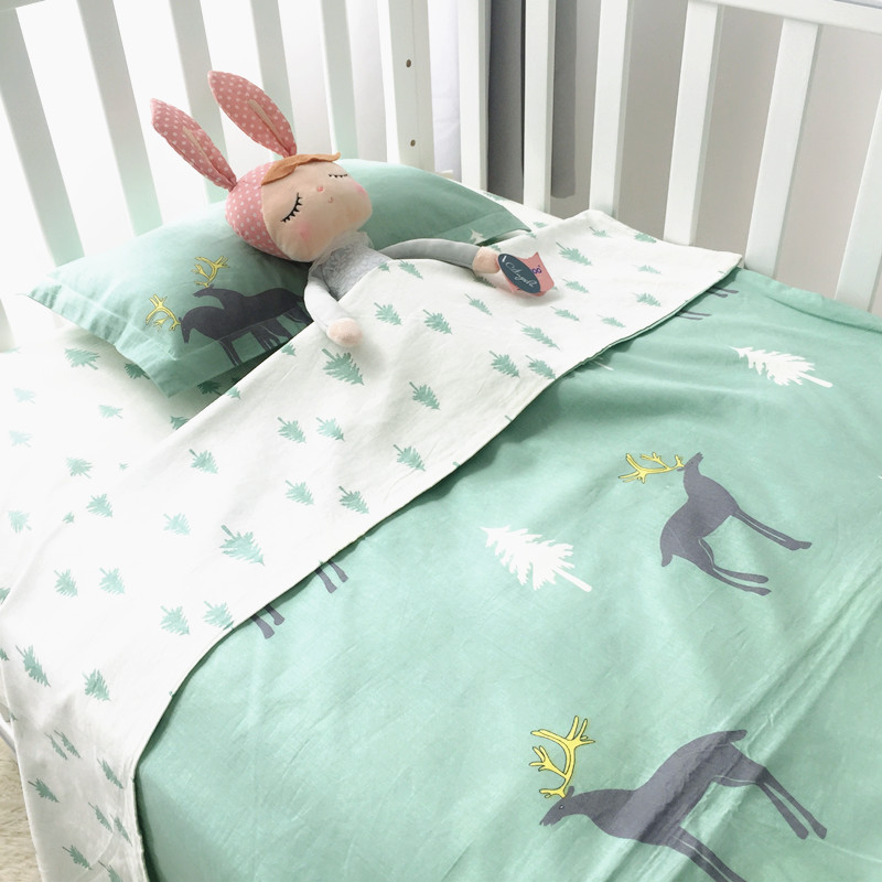 3 Pcs Baby Bedding Set Woven Cartoon Including Duvet Cover Pillowcase Bed Sheet Pure Cotton Crib Set For Both Girl and Boy Witho
