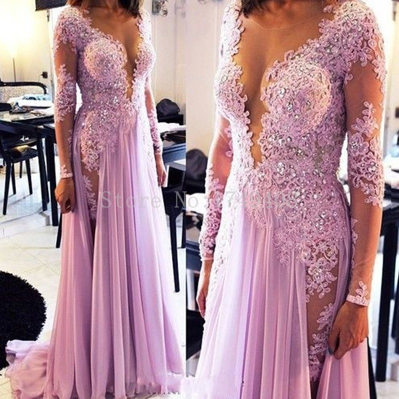 Charming Deep V-Neck Long Sleeve Prom Gown Floor Length Sequined Chiffon A-Line   Evening     Dress   Custom Made