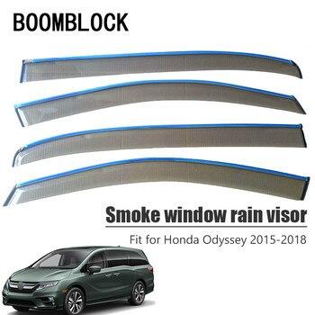 BOOMBLOCK 4pcs Car Covers Window Visor Sun Rain Wind Deflector Awning Shield ABS For Honda Odyssey 2015 2016 2017