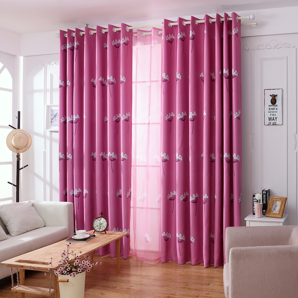 Patterned curtains living room - Lovely Style Dandelion Patterns Long Window Door Curtains Living Room Bedroom Blackout Curtains Blue Pink