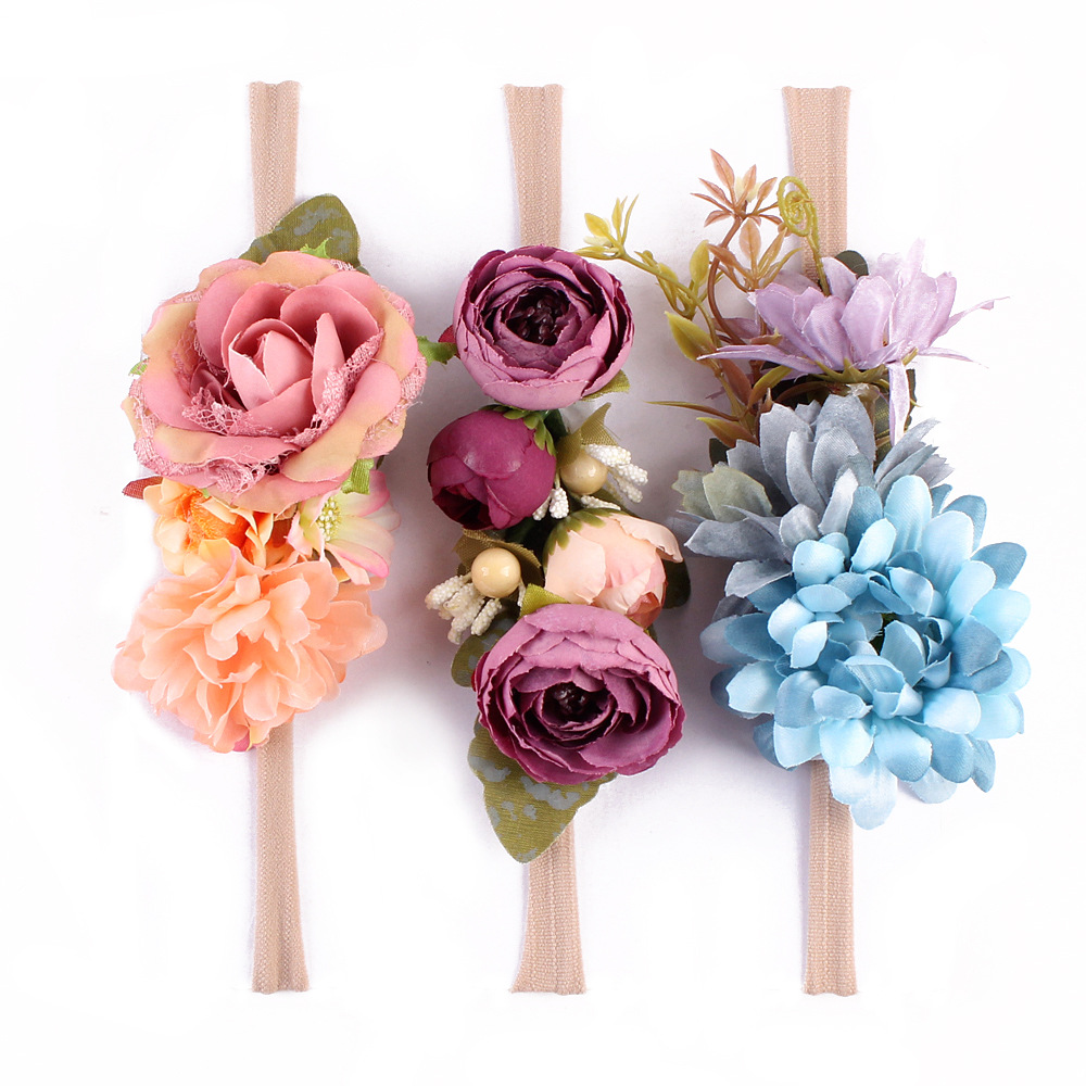 3pcsset girl nylon headbands faux flower soft hair band kids floral 3pcsset girl nylon headbands faux flower soft hair band kids floral crown hair accessory photography props in hair accessories from mother kids on izmirmasajfo