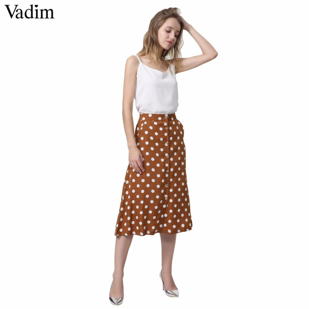 Vadim women vintage dot print midi skirt button design pockets A line ladies casual summer mid calf skirts falda mujer BA022(China)