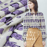 Villa cartoon printing silk fabric soft dress fabric 100 silk fabric custom shirt thin silk fabric wholesale silk cloth