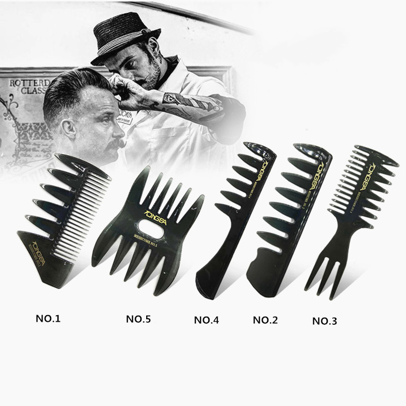 Men's Vintage Oil Head Comb New Oil Head Shape Partner Comb Wide Tooth Fork Comb Back Comb Men's Styling Tools