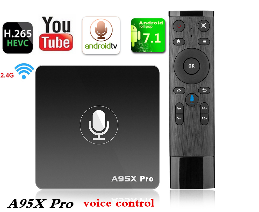 Voice Control TV Box A95X PRO Android 7.1 tv box Amlogic S905W 2GB RAM 16GB ROM 2.4G WiFi H.265 4K Set-top Box HDMI Media Player цена