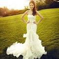 Vestido De Noiva 2017 Lace Wedding Dress With Sashes Elegant Mermaid Wedding Dresses 2017 Bridal Dresses Vestido De Casamento