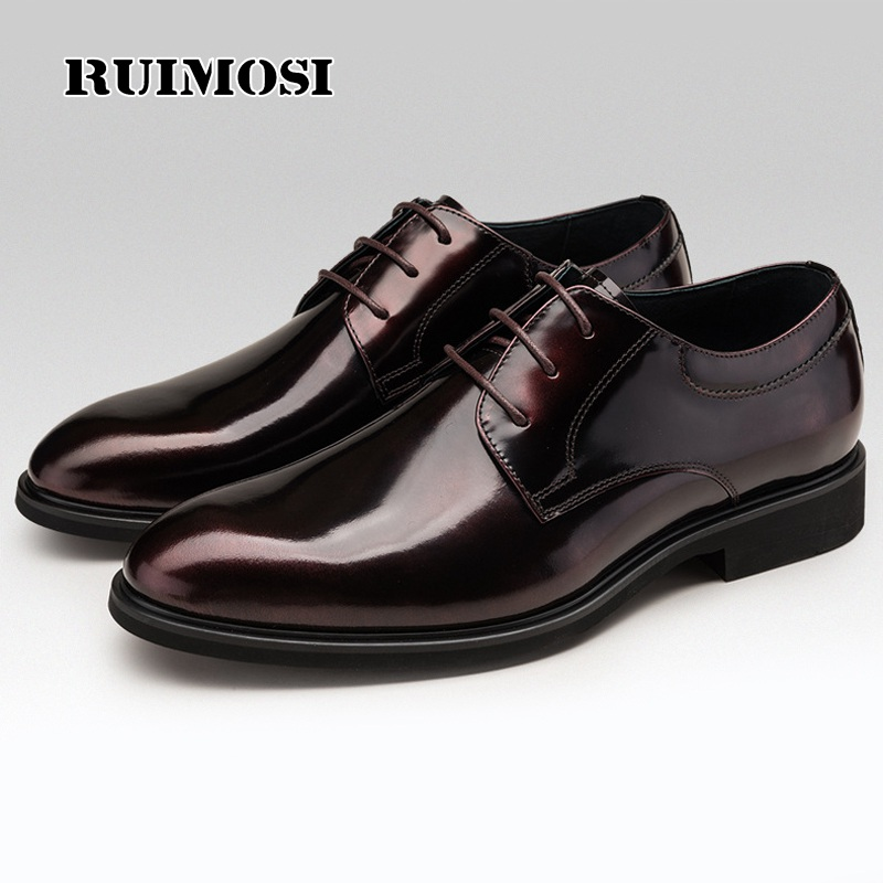 RUIMOSI Stylish Formal Man Bridal Dress Shoes Patent Leather Wedding Oxfords Luxury Brand Round Toe Lace up Men's Footwear SF32