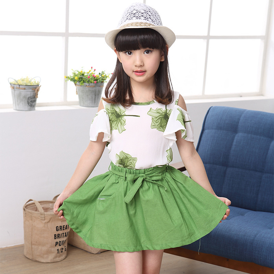 Summer Girls Clothes 2018 New Casual Children Clothing Sets Short Sleeve Shirts Skirt Kids Suit for Girls 4 6 8 10 12 Years children s girls summer short sleeve sports suit clothes set for girl print clothing sets 4 6 7 8 9 10 12 13 14 years old