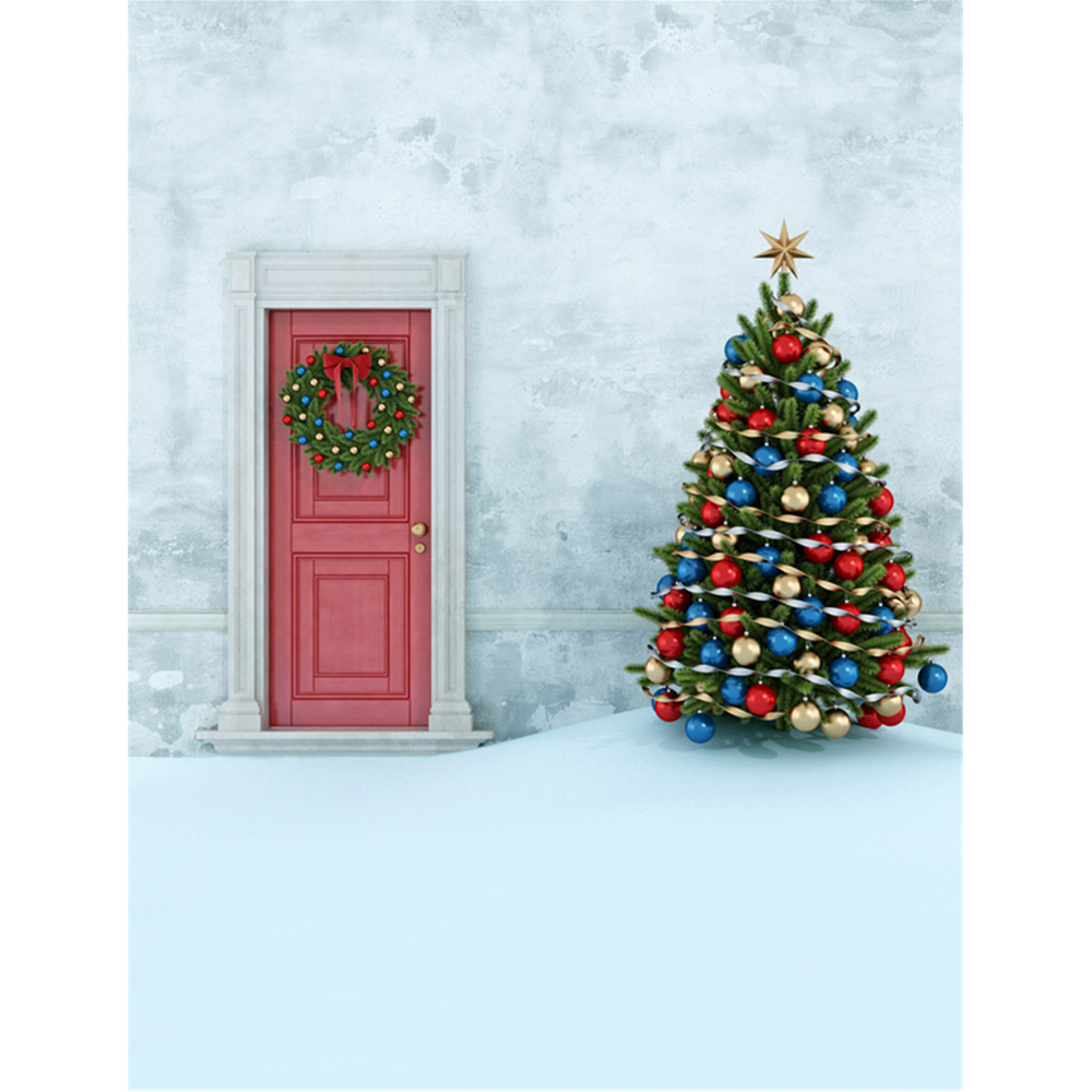Blue Christmas Tree Wallpaper: Solid Concrete Wall Garland Door Backdrop Printed Gold