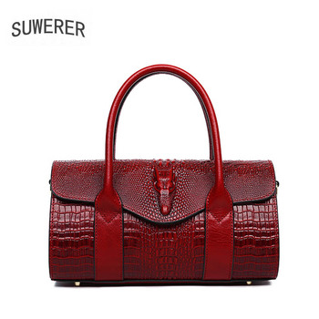 SUWERER 2020 Women Genuine Leather bags luxury handbags women bags designer Crocodile pattern embossing women leather handbags