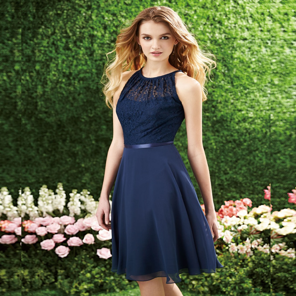 2016 A-Line Halter Chiffon Bridesmaid Dresses with Lace Top Sleeveless Short Dress For Wedding Party