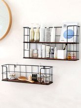 Wall shelf Japanese style wrought iron wall hanging storage rack bedroom living room cosmetics free punching