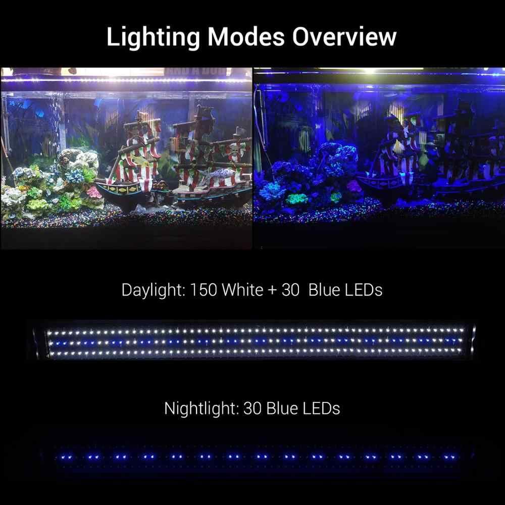 Nicrew аквариумный светильник для аквариума светодиодный светильник SMD 32 Вт 117-140 см светодиодный светильник с выдвижными кронштейнами подходит для аквариума