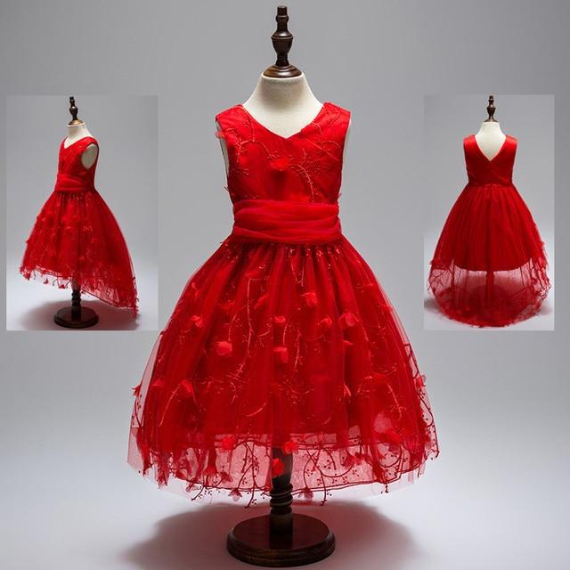 Summer Flower Girl Trailing Dress Red Tulle Wedding Dresses V-Neck Kids  Fluffy Evening Gown Children Girl Party Dress Cloth dfa4902e1eb0