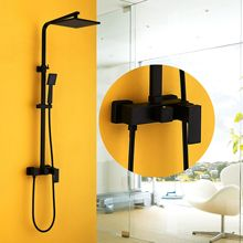 Vintage Black Painted Hot and Cold Dual Handle Wall Mounted In Wall Bath Lift Rain Shower Faucet Mixer Set Bathroom Commodity wall mounted 8 in shower faucet bathroom ceramic handheld single handle hot