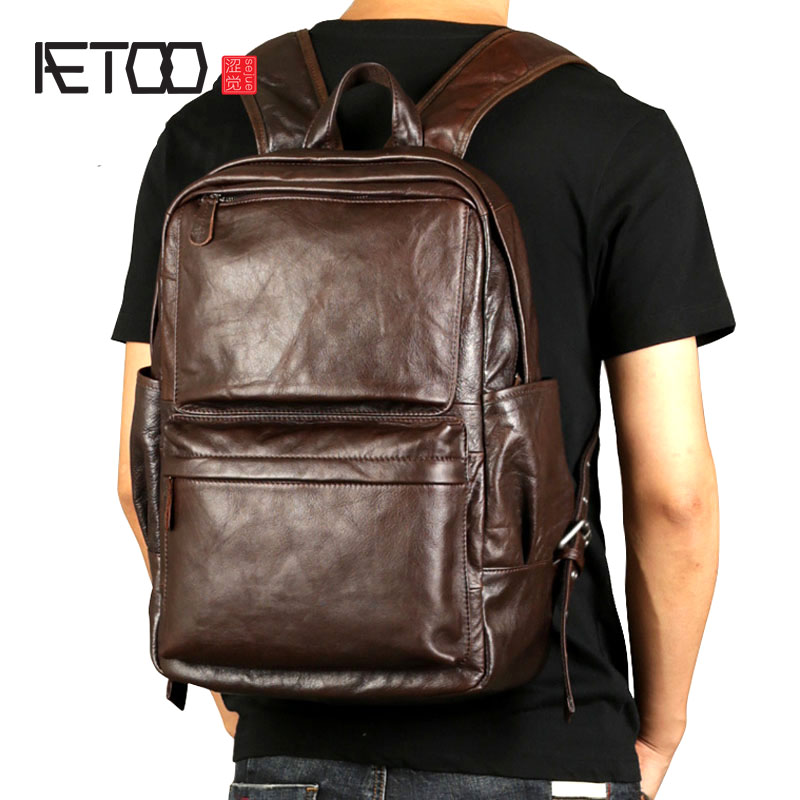 AETOO Leather men 's shoulder oil wrapped in the first layer of leather backpack Korean fashion trend leisure computer bag men s leather oblique cross chest packs of the first layer of leather deer pattern men s shoulder bag korean fashion men s bag