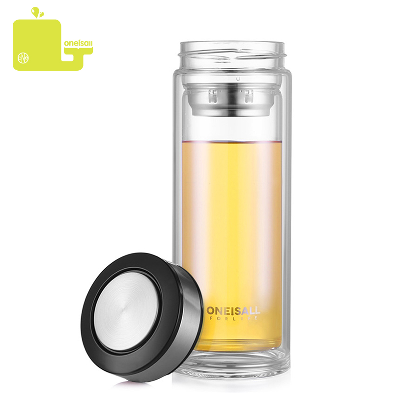 ONEISALL Glass Water Bottle 500ml Stainless Steel Tea Infuser Leakproof Water Bottle My Home Car Home Office