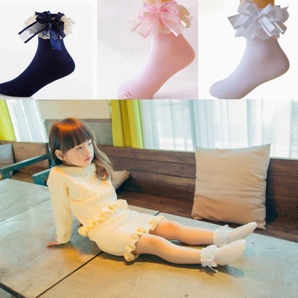 Girls Ankle Sweet Lace Frilly Ruffle Soft Princess Socks With Big Bow For Kid G