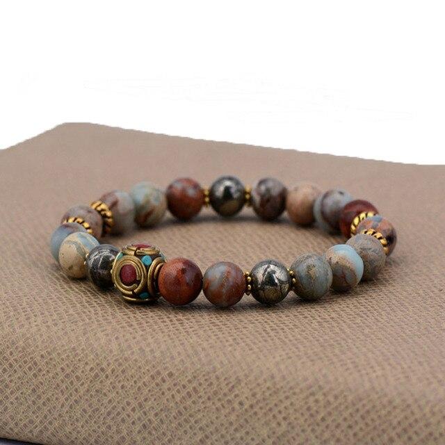 d577446c15ea 8mm Bohemia pulsera piedras naturales pirita encanto pulseras Semi piedra  preciosa elástica estiramiento brazaletes para mujeres