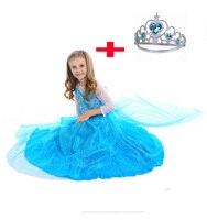 Promotion High Quality Girls Princess Elsa Cosplay Baby Birthday Girl Princess Dress Baby Girl Halloween Carnival