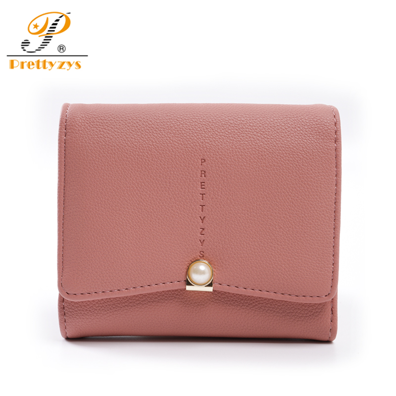 Prettyzys 2018 Short Women Wallet Card Holders Money Bag Purse Leather Small Fashion Note Female Coin Ladies Wallet Pearl Zipper
