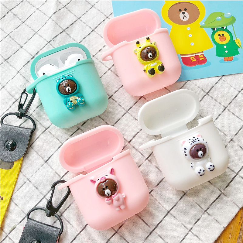 Cute Bluetooth Earphone Case For Apple AirPods Accessories Headphones Cover Protector Decoration Anti-Lost Strap With Hanger Toy