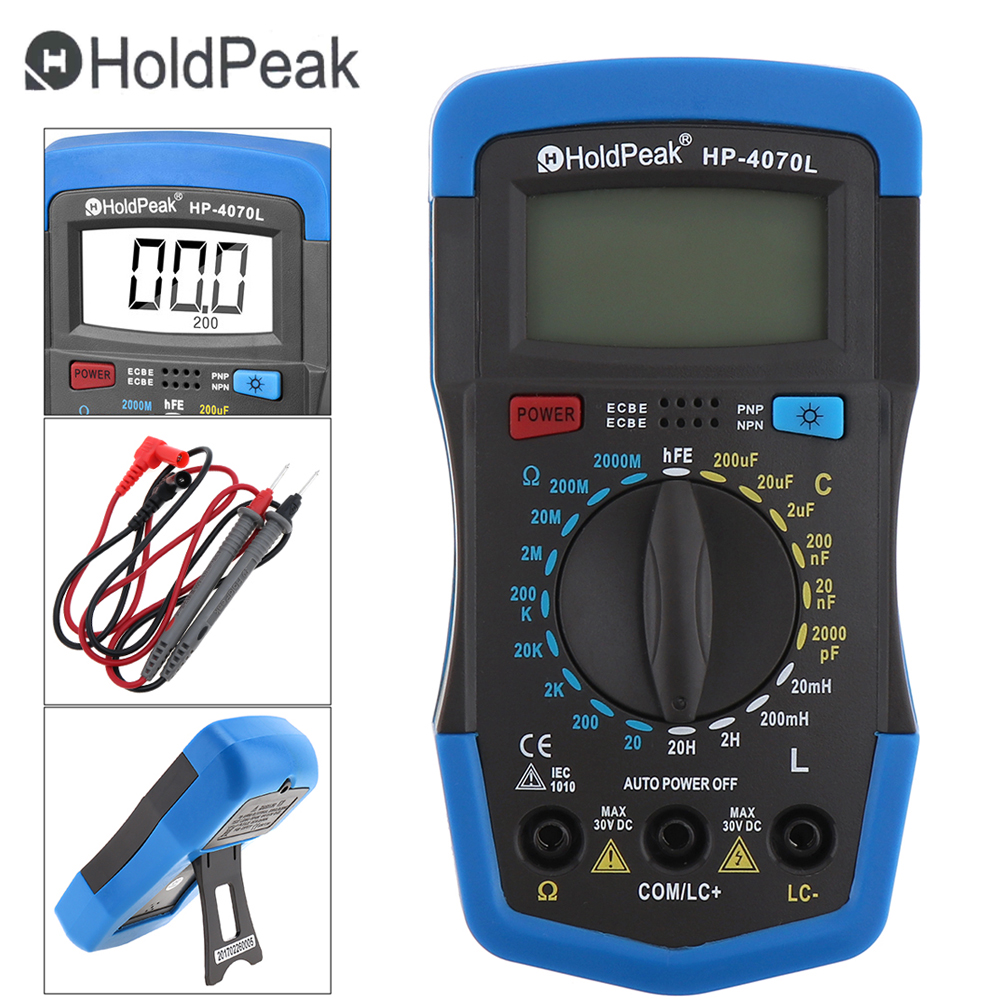 LCD Display Digital LCR Multimeter Multitester 1999 Counts Overload Protection Multi Meter Tester with Backlight Test Probe hyelec ms89 2000 counts lcr meter ammeter multitester multifunction digital multimeter tester backlight capacitance inductance page 5