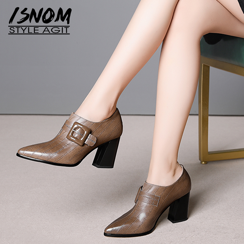 ISNOM 2019 Spring Women Pumps Pointed Toe Cross Tied Footwear Emboss Genuine Leather Lady Shoes Fashion High Heels Shoes Woman