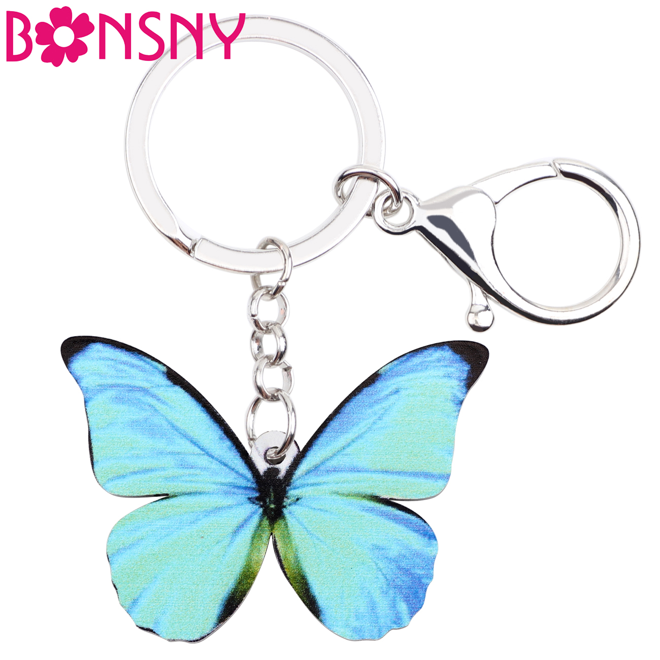 Bonsny Acrylic Pattern Morpho Menelaus Butterfly Key Chain Key Ring Handbag Bag Charm Keychain Fashion Animal Jewelry For Women