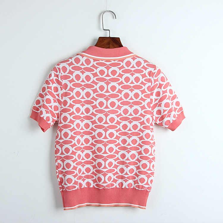 Новинка 2019, подиумная брендовая футболка с отложным воротником, свитер Харадзюку, женская трикотажная футболка, Женская Повседневная футболка с короткими рукавами